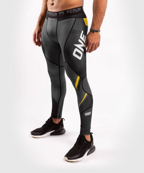 Venum ONE FC Impact Compression Tights - Grey/Yellow