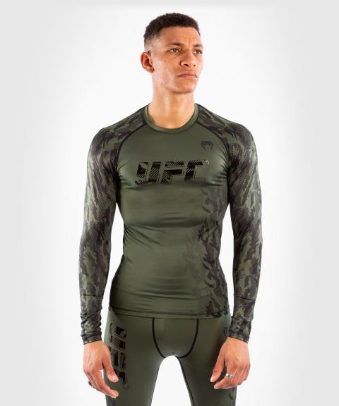 UFC Venum Authentic Fight Week Men's Performance Long Sleeve Rashguard - Khaki