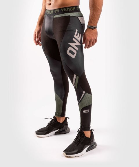 Venum ONE FC Impact Compression Tights - Black/Khaki